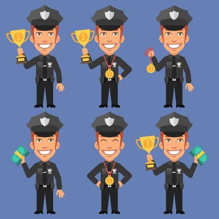 policia caricatura: Sostiene policía medalla en la copa y el dinero Vectores