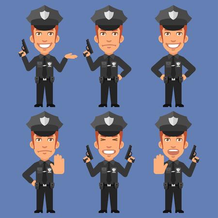policia caricatura: Sostiene policía Armas Vectores
