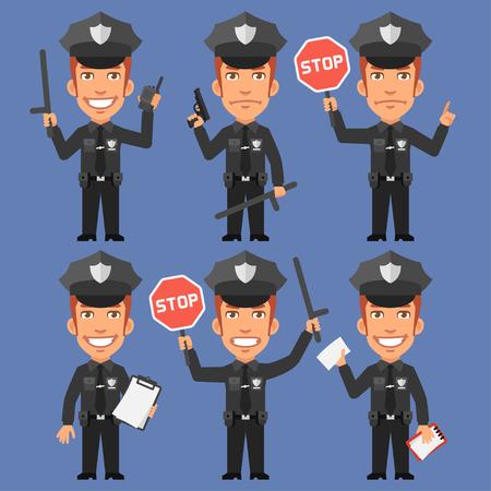 policia caricatura: Sostiene policía Armas y señal de stop