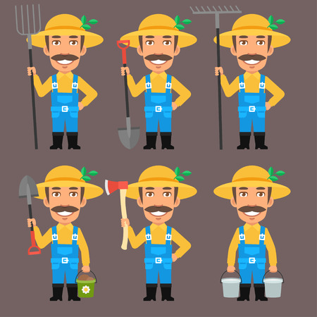 pitchfork: Farmer Holds Pitchfork Rake Bucket Shovel Ax Illustration