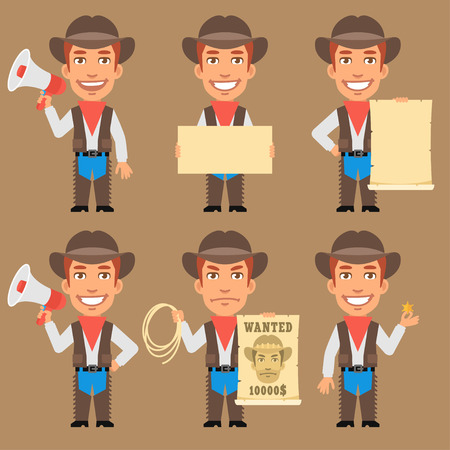objects paper: Cowboy Holds Megaphone and Paper