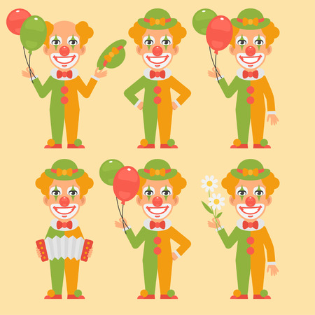acordeón: Clown Holding Balloons Flowers Accordion