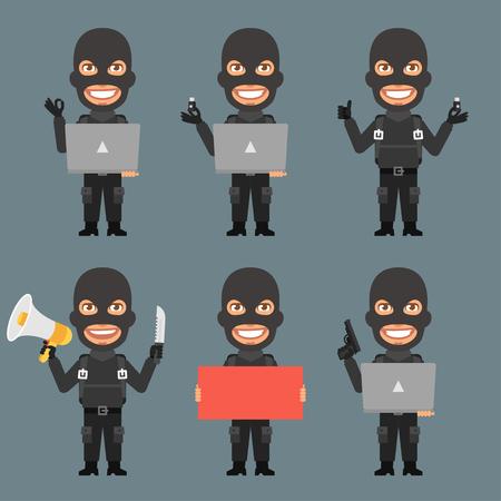 robber: Robber Holds Notebook Poster Megaphone