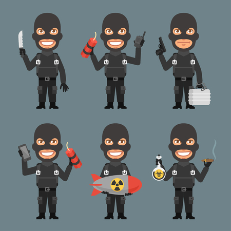 terrorist: Robber Holds Weapons Suitcase Bomb Illustration