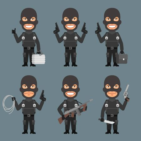 robber: Robber Holds Weapons Suitcase Rope Illustration