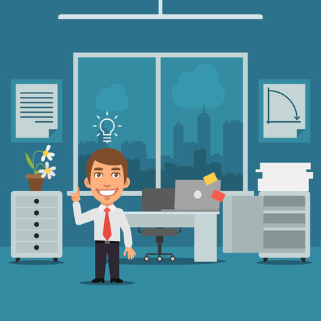 came: Businessman in Office Came Up With Idea Illustration
