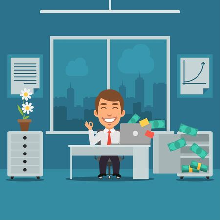 office windows: Businessman Sitting in Office and Rejoices Monetary Gain Illustration