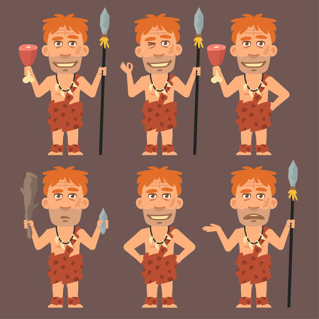 weapons: Neanderthal Holds Meat and Weapons Illustration