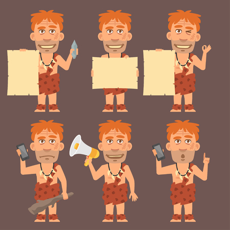 neanderthal: Neanderthal Holds Paper Phone and Megaphone Illustration