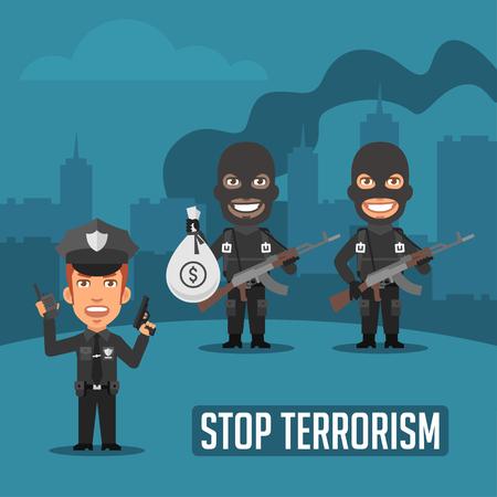 El policía y los terroristas en la ciudad Vectores