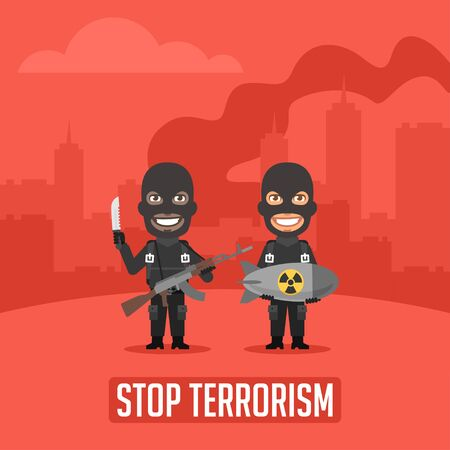 terrorists: Terrorists in City With Weapons Illustration