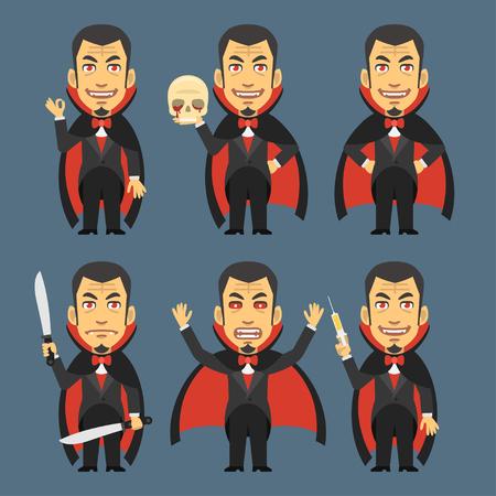 calavera caricatura: Vampire Holding Skull Machete Syringe
