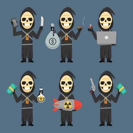 calavera caricatura: La muerte Laptop celebración de teléfono Bomba Armas dinero