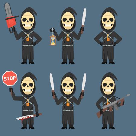 calavera caricatura: Sostiene la muerte de reloj de arena Machete Armas de la motosierra