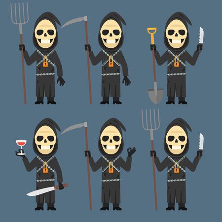 calavera caricatura: Sostiene la muerte vino Guadaña Pitchfork Pala cuchillo Vectores