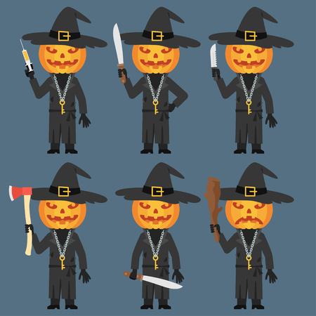 machete: Pumpkin Holds Baton Knife Machete Ax Syringe Illustration