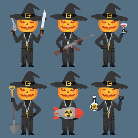 villain: Pumpkin Holds Weapons Machetes Shovel Poison Bomb Illustration