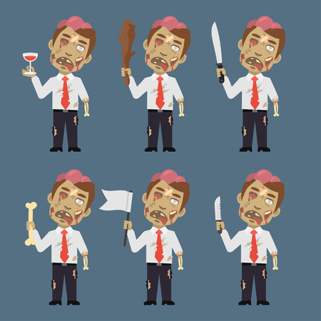 corpse: Zombie Holds Flag Baton Bone Knife Illustration