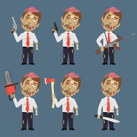 weapons: Zombie Holds Weapons Ax Machete Chainsaw Illustration