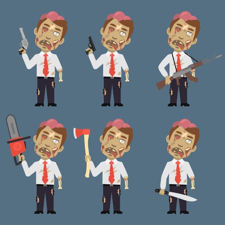 machete: Zombie Holds Weapons Ax Machete Chainsaw Illustration