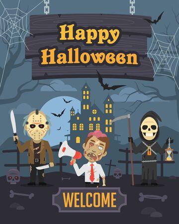 villain: Illustration Halloween Zombie Death Maniac Illustration
