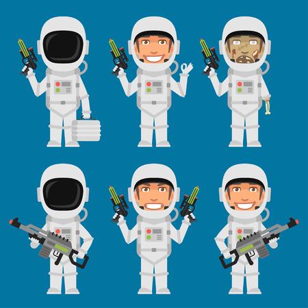미래의 무기를 들고 우주 비행사