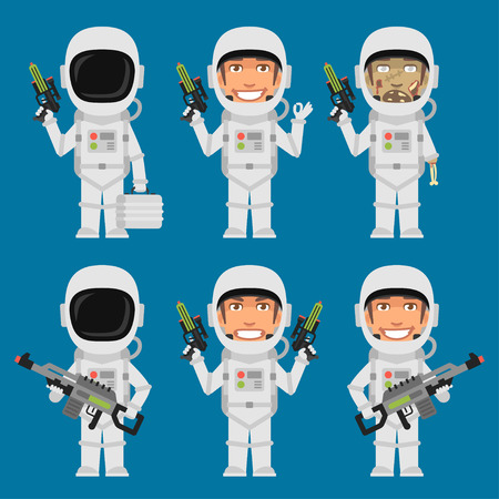 Astronaut Holding Futuristic Weapons
