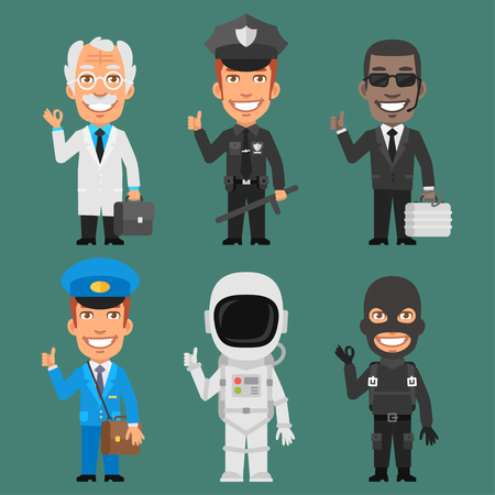 policia caricatura: Caracteres diferentes profesiones Parte 7