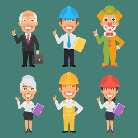 ingeniero caricatura: Caracteres diferentes profesiones Parte 12 Vectores