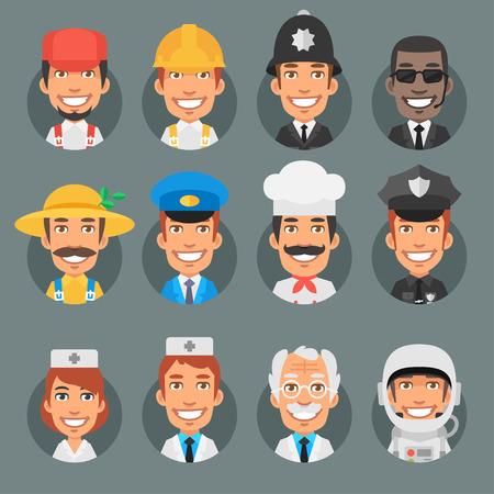 policia caricatura: Caracteres personas diferentes profesiones en círculo
