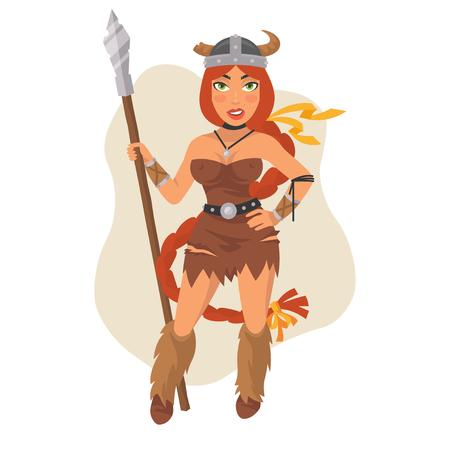 Viking Girl Holds Spear Illustration