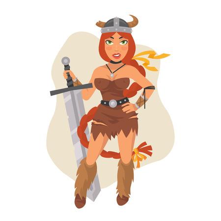 daring: Viking Girl Holds Sword Illustration