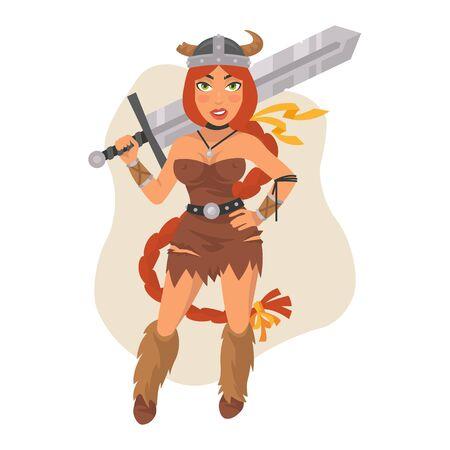 Viking Girl Holds Sword on Shoulders
