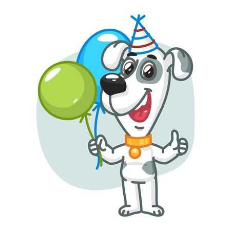 animal ear: Dog Holding Balloons and Smiling