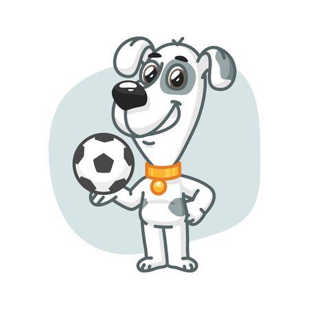 deportes caricatura: Perro sosteniendo el balón de fútbol y sonriente