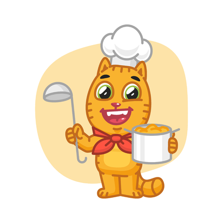 Cat Chef Holding Pan and Ladle