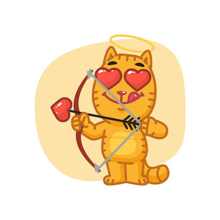 Cat Cupid Shoots from Bow