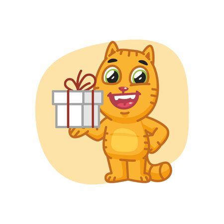 animal ear: Cat Holding Gift and Smiling