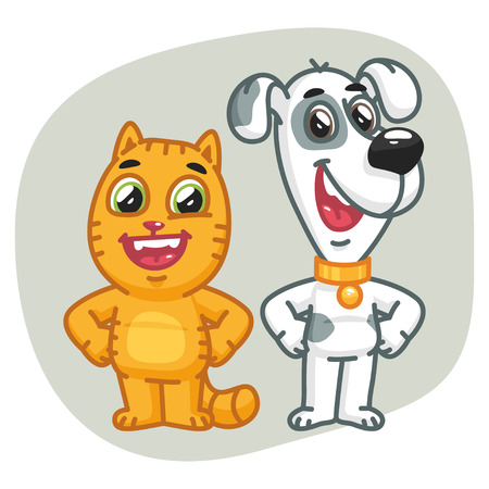 Cat and Dog Holding Paws at Waist