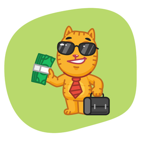 giggle: Cat Businessman Holding Suitcase and Money