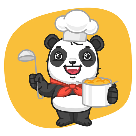 giggle: Vector Illustration, Panda Chef Holding Pan and Ladle, Format EPS 8 Illustration