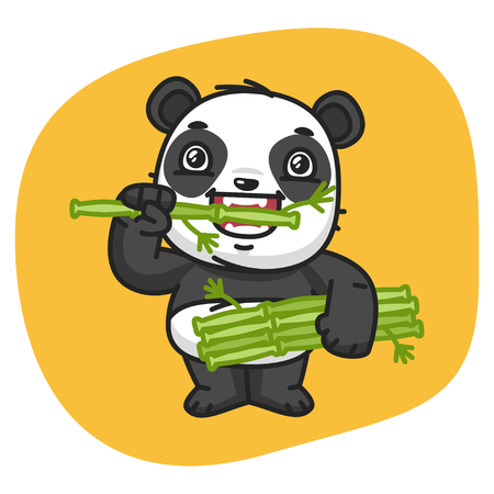 Vector Illustration, Panda Eating Bamboo, Format EPS 8 Illustration