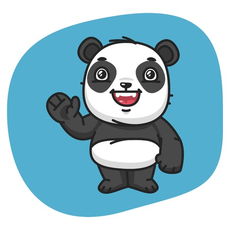 Vector Illustration, Panda Waving Paw, Format EPS 8 Illustration