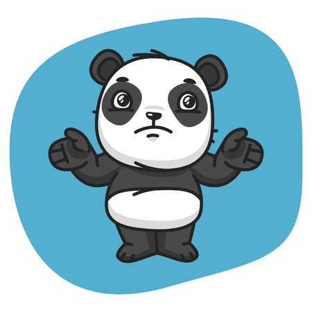 collapsed: Vector Illustration, Panda Does Not Know What To Do, Format EPS 8