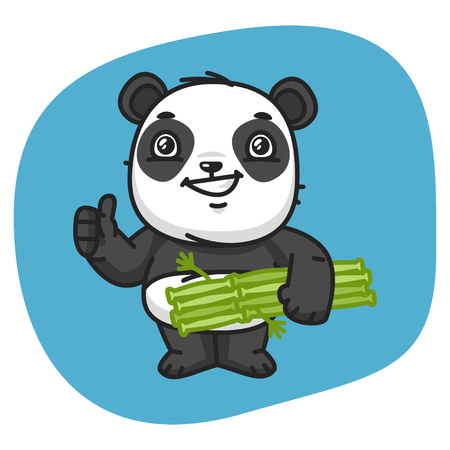 colour image: Vector Illustration, Panda Holds Bamboo and Showing Thumbs Up, Format EPS 8