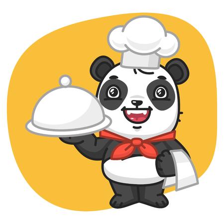 giggle: Vector Illustration, Panda Chef Holding Tray, Format EPS 8
