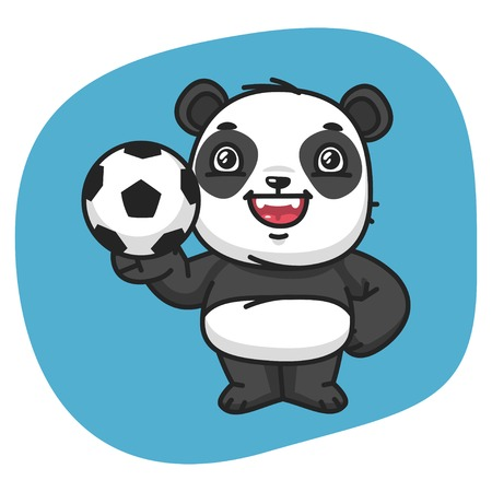 8 ball: Vector Illustration, Panda Holds Soccer Ball, Format EPS 8 Illustration