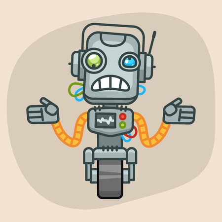 progressive art: Vector Illustration, Robot Does Not Know What to Do, Format EPS 10 Illustration