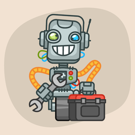 progressive art: Vector Illustration, Robot Holds Suitcase with Tool, Format EPS 10