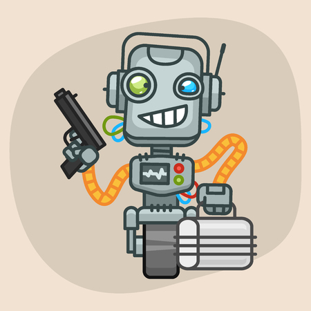 progressive art: Vector Illustration, Robot Holding Gun and Suitcase, Format EPS 10